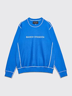 Bianca Chandôn Contrast Stitch Logotype Crew Neck Sweatshirt Royal Blue