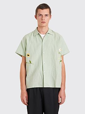 Bode Daisies Bowling Shirt Light Green