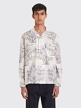 Bode Indo Flower Havana Shirt White / Blue