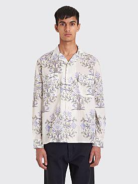 Bode Indo Flower Havana Shirt White / Blue