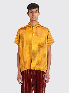 Bode Ladder Stripe Bowling Shirt Orange