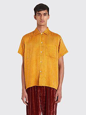 Bode Ladder Stripe Bowling Shirt Orange