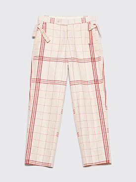 Bode Linen Side Tie Pants Bold Stripe White / Red