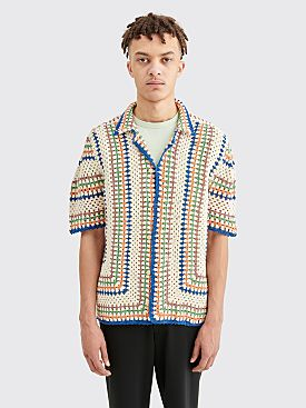 Bode Crochet Over Shirt Beige / Blue