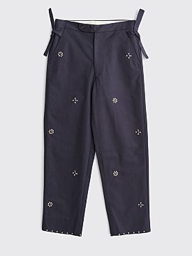 Bode Studded Side Tie Pants Navy