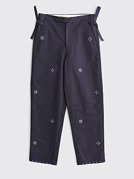 Bode Studded Side Tie Pants Navy