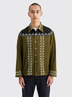 Bode Fellows Yoke Overshirt Moss