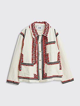 Bode Appliqué Workwear Jacket Ecru