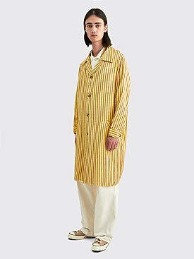 Bode Mashroo Stripe Overcoat Yellow