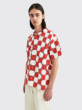 Bode Yo-Yo Quilt Coverlet Shirt White / Red