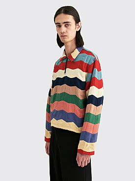 Bode Chevron Quilt Zip Pullover Multi Color