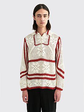 Bode Mockneck Crochet Pullover White / Red