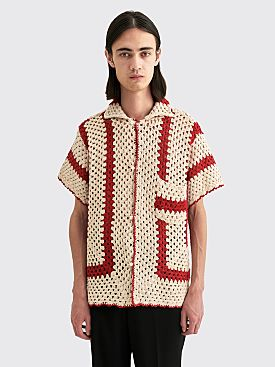 Bode Crochet Big Top Shirt White / Red