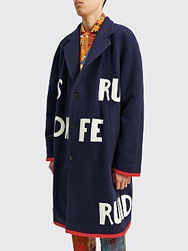Bode Rudioso Downs Blanket Coat Blue / White