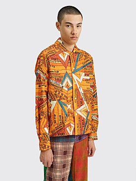 Bode Cigar Silk Patchwork Shirt Marigold