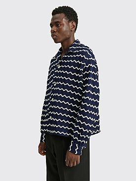 Bode Zig Zag LS Shirt Blue / White