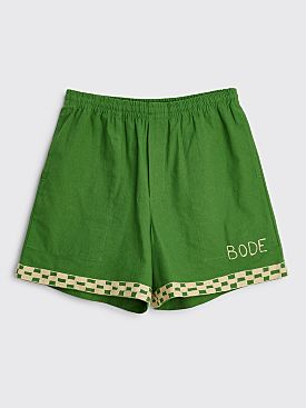 Bode Checkerboard Rugby Shorts Green / Cream