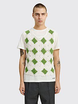Bode Crochet Boxy Diamond Tank Green / White