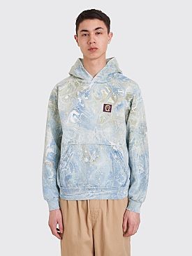 Brain Dead Marble Dye Hooded Sweatshirt Blue