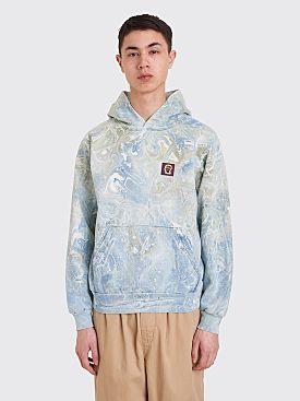 Brain Dead Marble Dye Hooded Sweatshirt Blue
