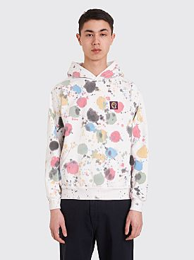 Brain Dead Splatter Dye Hooded Sweatshirt White