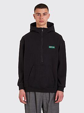 Brain Dead Half Zip Hooded Sweatshirt Washed Black
