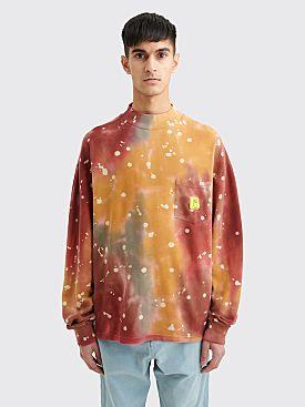 Brain Dead Pique Mock Neck LS T-shirt Dyed Red