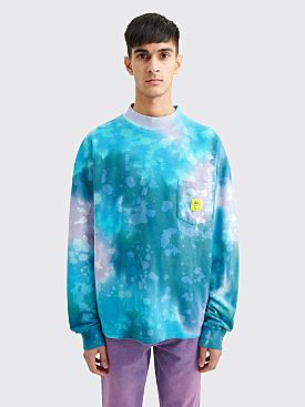 Brain Dead Pique Mock Neck LS T-shirt Dyed Blue