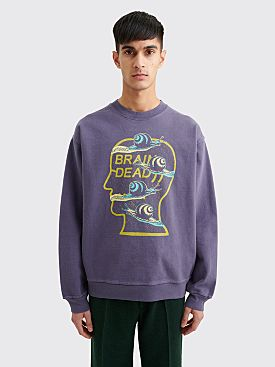 Brain Dead Snail Trail Crewneck Sweater Washed Navy