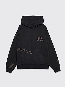 Brain Dead Tonal Type Hooded Sweatshirt Black