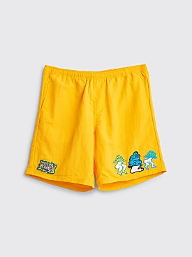Brain Dead Mushroom Patch Nylon Beach Shorts Gold