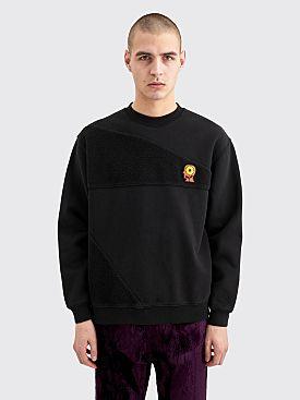 Brain Dead Sunflower Asymmetrical Paneled Crewneck Sweatshirt Black