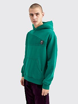 Brain Dead Logo Head Asymmetrical Paneled Hooded Sweatshirt Teal