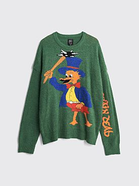 Brain Dead Brain Duck Novelty Knit Sweater Green