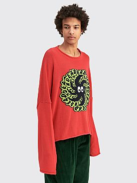 Brain Dead Spit It Cropped Boxy Sweater Red