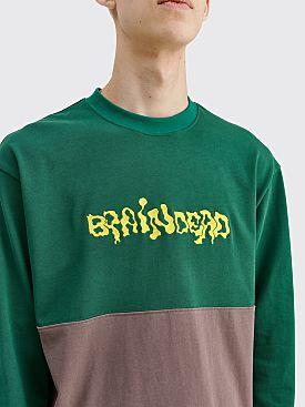 Brain Dead Embroidered LS Football Shirt Forest Green