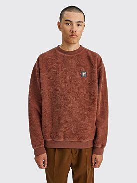 Brain Dead Reverse Fleece Crewneck Sweatshirt Chocolate