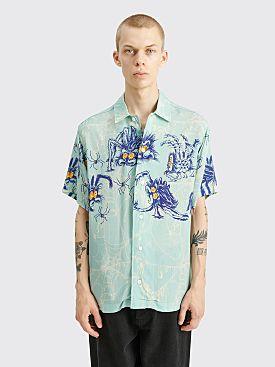 Brain Dead Horfee Spiders Rayon Shirt Light Blue
