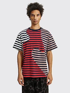 Brain Dead Organic Paneled Stripe T-shirt Red