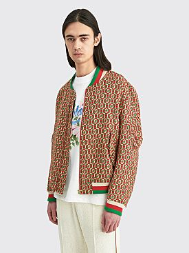Casablanca Wool Monogram Bomber Jacket Red