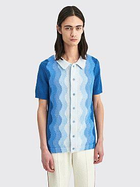 Casablanca Boucle Memphis Knit Polo Blue
