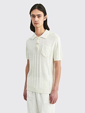 Casablanca Boucle Knit Polo White