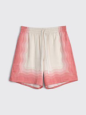 Casablanca Kapalia Printed Silk Twill Shorts White / Pink