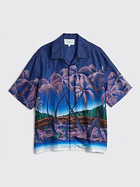 Casablanca Nuit A Maui Printed Silk Twill Shirt Blue