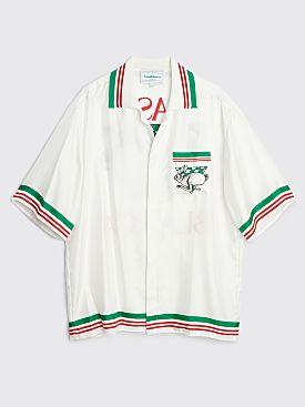 Casablanca Knit Collar Printed Silk Twill Short Sleeve Shirt White