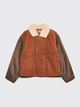 Cav Empt Leather Bomber Jacket Brown / Olive