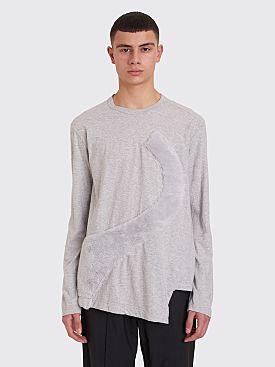 Comme des Garçons Homme Plus Plush Panel Long Sleeve T-shirt Grey