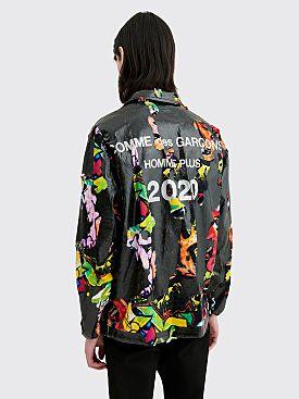 Comme des Garçons Homme Plus Coated Printed Panel Coach Jacket Black