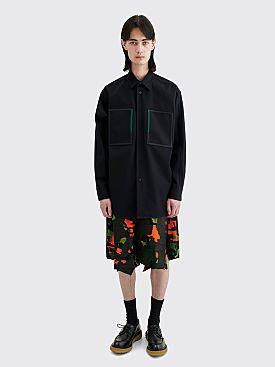 Comme des Garçons Homme Plus Coated Printed Panel Shorts Black