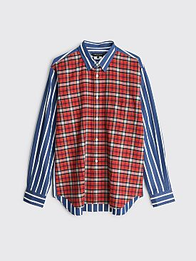 Comme des Garçons Homme Plus Mixed Stripe / Tartan Check Shirt Navy / Multi
